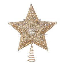 This Kurt Adler 13.5-in Star Treetop with Ivory Pearls and Platinum Glass Glitter is a beautiful and elegant addition to any Christmas tree decoration. This classic 5 point star treetop includes a variety of pearls and platinum glass glitter all coming together to complete an elegant treetop. The addition of beaded intricate designs elevates this treetop to the next level of uniqueness!