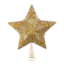 Decorate your tree with this 13.5-in 5-Point Gold Beaded Star Treetop from Kurt Adler! This 5-point tree topper features gold beading and a gold center gem. Beads are placed in an intricate holiday design to makes this treetop a guaranteed eye catcher!
