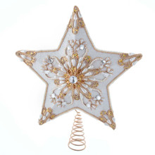 This 13.5-in 5-Point White and Gold Star Treetop from Kurt Adler is the perfect addition to your Christmas tree! This treetop features a beautiful white and gold detailing, including white pearls and gold beading that provides an extra festive touch.