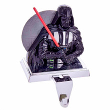 Hang your stocking on the Dark Side with this 4-in Darth Vader Stocking Holder from Kurt Adler. Darth Vader is featured here holding his red light saber with the Death Star looming behind him. Perfect for Star Wars fans and collectors!