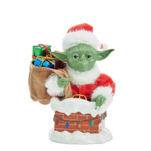 This Kurt Adler 5.5-in Yoda In Chimney Table Piece is a fun, unique way to add to your holiday decoration or Star Wars collection! This intricately detailed table piece features Yoda in a classic red and white Santa suit getting ready to go down a red brick chimney with his sack full of gifts. Perfect for any room in the house to show off your Star Wars gear!