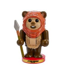 """This Kurt Adler Star Wars Ewok Nutcracker is a fun, unique way to add to your holiday decoration, Star Wars collection, or nutcracker collection! Wicket W. Warrick is featured with his trademark hood and spear. He is standing on a red, round base with a gold """"Star Wars Ewok"""" plaque."""