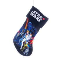 This B/O Star Wars Light-Up Stocking from Kurt Adler is a fun and festive addition to any holiday decoration! Perfect for Star Wars fans and collectors, this stocking features classic Star Wars movie artwork of Luke, Han, Leia, R2D2, C3PO, and Darth Vader. When switched on, this piece lights up with 6 white light bulbs. B/O; uses 3 AAA batteries (included).