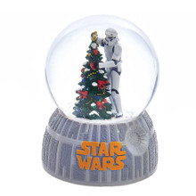 """Celebrate the holidays on the Dark Side with this 100mm Musical Stormtrooper Decorating Christmas Tree Water Globe from Kurt Adler! A Stormtrooper is featured here putting the finishing touches on a very festively-decorated Christmas tree. The base of this water Globe is modeled after the Death Star. When wound up, this musical piece plays, """"Jingle Bells."""""""