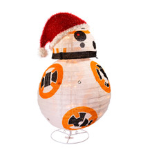 Sure to be a hit with any fan of the Star Wars series, this lawn decoration by Kurt Adler features lovable new droid BB8. For indoor and outdoor use, this light-up BB8 is pre-lit by 50 clear bulbs, and stands at 28 in tall. The unique collapsible design makes him easy to set-up on the included wire stand, and even easier to store away.