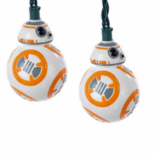 "Sure to be a hit with any fan of the Star Wars series, this light set from Kurt Adler features the lovable new droid BB8 in his orange and white round form. Each set has a 30"" lead wire and 12"" light spacing. For both indoor and outdoor use."