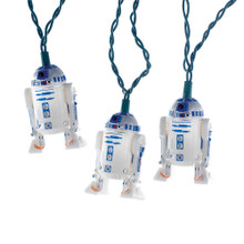 "This Kurt Adler UL 10-Light Star Wars Plastic R2D2 Light Set is a fun, unique way to add to the lighting of the holiday decoration of any Star Wars fan! Each light in this indoor novelty light set features the loyal droid, R2D2, in beautiful detail. This set has a 30"" lead wire and 12"" spacing."