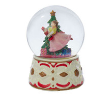 "This Kurt Adler Clara with Nutcracker Musical water Globe is a fun and classic way to add to your holiday decoration! In the Globe, Clara can be seen excitedly dancing with a toy-sized nutcracker around a star-topped Christmas tree. The Globe sits atop an ornate red, white, and gold ceramic base. Wind up the piece to hear the tune of ""March of the Toy Soldiers"" play."