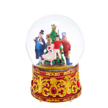 The musical lighted nutcracker water Globe from Kurt Adler is a beautiful addition to your holiday collection. The water Globe features Clara, the Nutcracker Prince, Drosselmeyer and the Mouse King surrounding a decorated Christmas tree. The red base of the water Globe is embellished with gold designs and red jewels.