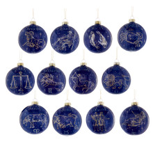 These Kurt Adler Glass Zodiac Ornaments, set of 12 are an astrological addition to any Christmas tree. This set features all 12 signs on a night sky background. Each ornament has the sign and symbol with the constellations.