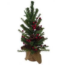 The 24-in red berries and pinecones tree from Kurt Adler is a homely addition to your home decoration. The tree is embellished with brown pinecones and red berries and the base is wrapped with brown burlap.