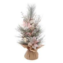 This 24-in Pink Poinsettia and Gold frosted Decoration Tree from Kurt Adler is a beautiful addition to your home decoration. The tree is embellished with pink poinsettia flowers and gold glittered ball ornaments and the base is wrapped with brown burlap. It is ideal for adding Christmas spirit when space is limited!