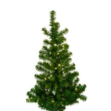 """This Kurt Adler 36"""" Pre-Lit Norway Pine Wall Tree is a beautiful, classic way to add to your holiday decoration. Ideal for limited spaces, this pre-lit half tree has a flat back and hangs on the wall (tree stand is not required or included). Its thick, green design has a total of 149 tips, and is pre-lit with 50 clear UL-approved lights."""