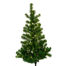 """This Kurt Adler 48"""" Pre-Lit Norway Pine Wall Tree is a beautiful, classic way to add to your holiday decoration. Ideal for limited spaces, this pre-lit half tree has a flat back and hangs on the wall (tree stand is not required or included). Its thick, green design has a total of 243 tips, and is pre-lit with 100 clear UL-approved lights."""