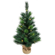 """This 2.5-ft B/O Miniature Pine Tree from Kurt Adler brings the beauty of nature to any holiday decoration. This miniature 2-toned pine tree boasts 66 tips, has an 18-in diameter, a burlap base and comes pre-lit with 35 warm white fairy lights so you don't have to worry about putting on the light sets! It is battery operated and uses 2 """"AA"""" batteries which are not included. Simply add your favorite ornaments and treetop to complete this classic looking tree."""