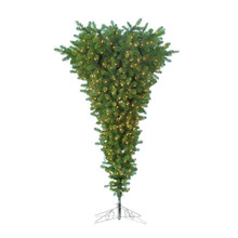 """This Kurt Adler 4.5-ft Pre-Lit Upside Down Tree is a beautiful, unique way to add to your holiday decoration. With a thick green design, this pre-lit tree is upside down, with Its wide end at the top and narrow end at the bottom! When fully assembled and fluffed, this tree can reach heights from 4.5 feet up to approximately 5 feet tall. This tree has 401 tips, UL-200 clear lights, a metal base, and a 35"""" girth."""
