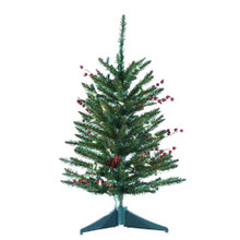 """This Kurt Adler 24-in Pre-Lit Red Berries and Pinecone Tree is a beautiful, classic way to add to your holiday decoration. This pre-lit tree has a compact design, which is perfect for decorating when space is limited, and red berry and pinecone decorated branches. The tree has 108 tips, 50 clear lights, a 14"""" plastic base, and a 14"""" girth."""