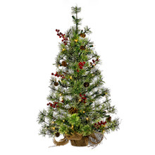 This 24-in Pre-lit Mini Pinecone and Berries Tree from Kurt Adler is a fun and festive addition to any holiday decoration. Perfect for decorating when space is limited, this tree has 85 tips, 50 UL-approved clear lights, and a rustic-looking burlap base.