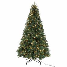 This 9-ft Pre-Lit Warm White LED Pine Tree from Kurt Adler is a beautiful and festive addition to any holiday decoration. Its unique design has a total of 2205 tips, is pre-lit with 600 warm white UL-approved LED lights, boasts a 65-in girth, and has a ft pedal on/off switch. Hinged construction and an included metal stand make for easy setup.