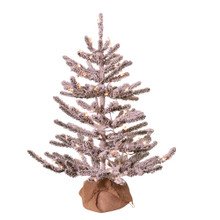 This Kurt Adler 3-ft Pre-Lit Flocked Pine Tree with Burlap is a beautiful, classic way to add to your holiday decoration. The tree features a flocked design for a snowy effect without the chill. It comes pre-lit with 100 clear incandescent lights so you don't have to worry about putting on the light sets! Complete with a burlap base, simply add your favorite ornaments and treetop to complete this flocked looking tree.