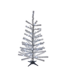 This Kurt Adler 24-in B/O Pre-Lit Silver Tinsel Tree is a beautiful, festive way to add to your holiday decoration. Perfect for decorating smaller spaces. This tree comes pre-lit with 35 cool white LED lights, so you don't have to worry about putting on the light sets. An eye-catching yet easy-to-decorate tree for your home, simply add your favorite ornaments and treetop! The tree comes with a plastic stand and four legs.