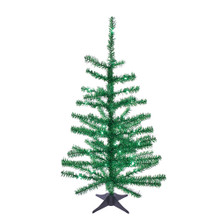 This Kurt Adler 24-in B/O Pre-Lit Green Tinsel Tree is a beautiful, festive way to add to your holiday decoration. Perfect for decorating smaller spaces. This tree comes pre-lit with 35 green LED lights, so you don't have to worry about putting on the light sets. An eye-catching yet easy-to-decorate tree for your home, simply add your favorite ornaments and treetop! The tree comes with a plastic stand and four legs.