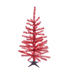 This Kurt Adler 24-in B/O Pre-Lit Red Tinsel Tree is a beautiful, festive way to add to your holiday decoration. Perfect for decorating smaller spaces. This tree comes pre-lit with 35 red LED lights, so you don't have to worry about putting on the light sets. An eye-catching yet easy-to-decorate tree for your home, simply add your favorite ornaments and treetop! The tree comes with a plastic stand and four legs.