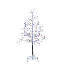 The 6-ft silver bark multi-Colored LED fairy lites tree from Kurt Adler is great way to spice up your holiday collection this season. The tree features colorful fairy lites embellished with glittery silver branches and bark.