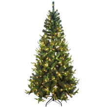 This Kurt Adler 7-ft Pre-Lit Sierra Green Tree PVC and PE Christmas Tree is a beautiful addition to any holiday decoration. This tree comes pre-lit with clear lights, so you won't have to worry about putting on the light sets! This green sierra tree is the perfect size for and addition to your holiday decoration. With a couple of ornaments and a treetop, the feel of Christmas will soon be here. All this tree needs to complete your Christmas decoration is your favorite ornaments and treetop!