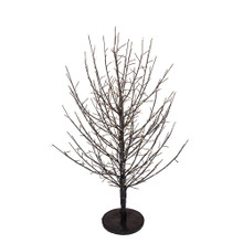 This 3-ft Pre-Lit Dark Brown Twig Tree from Kurt Adler is a unique addition to your holiday decoration. It boasts 118-in lead wire and a UL IP44 adaptor. This tree features dark brown bark, dark brown branches and 500 Warm White fairy Cluster Lights.