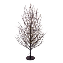 This 4-ft Pre-Lit Dark Brown Twig Tree from Kurt Adler is a unique addition to your holiday decoration. It boasts 118-in lead wire and a UL IP44 adaptor. This tree features dark brown bark, dark brown branches and 1000 Warm white fairy Cluster Lights.