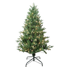 """This 4.5-ft Pre-Lit Clear Incandescent Jackson Pine Tree from Kurt Adler is the perfect addition to your holiday decoration. Its green 4.5-ft design boasts 1000 tips and a 35"""" girth. Pre-lit, this tree has a total of 150 clear incandescent lights. Just add your favorite ornaments to complete the look."""