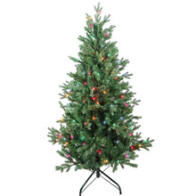 """This 4.5-ft Pre-Lit Multi-color Incandescent Jackson Pine Tree from Kurt Adler is the perfect addition to your holiday decoration. Its green 4.5-ft design boasts 1000 tips and a 35"""" girth. Pre-lit, this tree has a total of 150 multi-color incandescent lights. Just add your favorite ornaments to complete the look."""