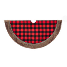 This 48-in Fabric Plaid Treeskirt with Faux Fur Trim from Kurt Adler is a beautiful and festive way to complete the decoration of your Christmas tree. Its red and black plaid design is accented with a thick brown faux fur trim.