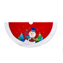 This 48-in red and white velvet snowman glitter applique tree skirt from Kurt Adler is a fun and festive way to complete the decoration of your Christmas tree. Its red design features a snowman applique surrounded by colorful Christmas trees, and Its thick white cuff completes Its festive look.