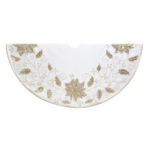 This 54-in Ivory Snowflake Tree Skirt by Kurt Adler is a fun and festive addition to any holiday decoration. This tree skirt features an ivory design with gold holly leaves and flower detailing. It is accented by a gold trim.