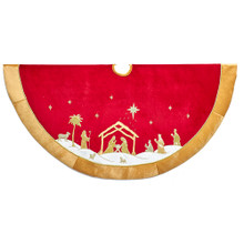 This 48-in Red and Gold Religious Tree Skirt by Kurt Adler is a fun and festive addition to any holiday decoration. Its bold red color and gold border is accented with a classic nativity scene with the Holy Family in the center. This treeskirt features rich hand embroidery detailing throughout.