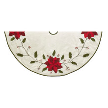 This 54-in Ivory with Holly Leaves and Poinsettia Tree by Kurt Adler is a fun and festive addition to any holiday decoration. This tree skirt features an ivory design with classic poinsettias and holly leaves. This tree skirt is accented with green trim.