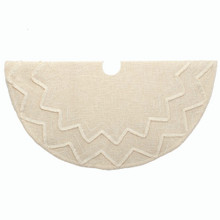 This 50-in Ivory Textured Fabric Fringe Treeskirt from Kurt Adler is a wonderful addition to any holiday decoration. It features an ivory textured slub style tree skirt with chevron lace and matching fringe. This is a perfect way to decorate your Christmas tree!