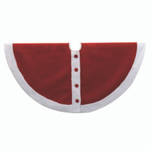 This 48-in Red and White Santa Suit Design Treeskirt from Kurt Adler is a fun and festive addition to your holiday decoration. It features a velvet Santa suit design with red buttons and a white faux fur border. This is a perfect way to decorate your Christmas tree!