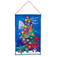 Countdown the days till Christmas with this 19-in Fabric Trolls© Advent Calendar from Kurt Adler. Ready to hang on a wall, this advent calendar features the Trolls© character (Branch, Princess Poppy, and Guy Diamond) each in festive gear surrounding the Christmas tree. Each ornament on the Christmas tree countdowns the days until Christmas!