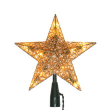 Bring a rich golden glow to your Christmas tree with this 10-Light 9-in Gold Wire Treetop by Kurt Adler. Its classic 5-point star design has a glittery golden finish that is sure to add sparkle to your holiday decor. Each star has a 48-in green lead wire, 12V 0.72W clear incandescent bulbs, 4 spare bulbs, and 1 fuse. For indoor use only.