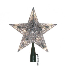 Bring a cool, silvery shine to your Christmas tree with this 10-Light 9-in Silver Wire Treetop by Kurt Adler. Its classic 5-point star design has a glittery silver finish that is sure to add sparkle to your holiday decoration. Each star has a 48-in green lead wire, 12V 0.72W clear incandescent bulbs, 4 spare bulbs, and 1 fuse. For indoor use only.