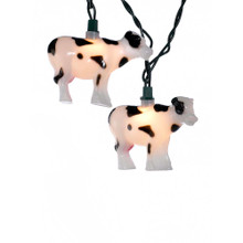"""This Kurt Adler 10-Light Cow Light Set is a fun, unique way to add to the lighting of any theme party decoration! Each of the 10 lights in this novelty indoor/outdoor light set resembles a black and white cow with pink udders. Each cow measures about 3.5"""" in width, 2.5"""" in height, and 1"""" in depth. Each set has a 30"""" lead wire, 12"""" spacing, 4 spare bulbs, and 1 spare fuse."""