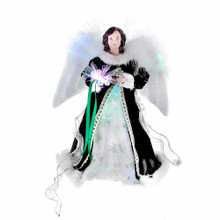 """This Kurt Adler 12"""" Fiber Optic Irish Angel Treetop is a beautiful, unique way to accent the lighting and decoration of your Christmas tree while celebrating your Irish heritage. Measuring 12"""" in height, this angel has long, painted brown hair and is wearing an intricate green and white gown accented by white feathers. In her hands and framing her head are strands of glowing, shimmering fiber optic lights--she is sure to be the focal point of your tree and decor."""