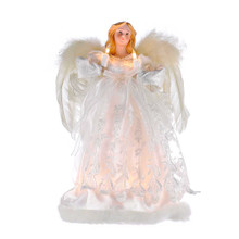 Complete the lighting and decoration of your Christmas tree with Kurt Adler's ivory angel treetop. This beautiful 12-in angel is wearing a soft, innocent ivory gown with feathered wings to match. She is lit with 10 lights, from her candles to her gown. She comes with 4 spare bulbs and 1 fuse.