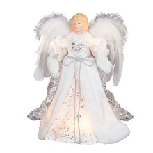 Top off your Christmas tree this year with this lovely Kurt Adler 12-in 10-Light White and Silver Angel Treetop. This beautiful 12-in angel is wearing a soft, innocent white gown with feathered wings to match. Her gown is adorned with silver detailing. She is lit with 10 lights, from her candles to her gown.