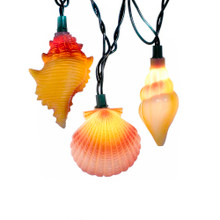 """This Kurt Adler 10-Light Conch and Shells Light Set is a fun, unique way to add to the lighting of your holiday decoration! Each of the 10 lights in this novelty indoor/outdoor set has a wonderfully detailed conch or seashell design--perfect for adding a breezy, nautical touch to your Christmas decor. Each shell measures about 3"""" in height and 2"""" across (measurements vary among shell designs in set). Each set has clear bulbs, green wire, 30""""x12"""" spacing, 4 spare bulbs, and 2 spare fuses."""