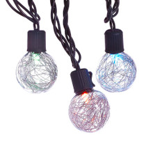 This Kurt Adler silver tinsel balls LED light set is a unique, festive way to add to the lighting of your holiday decoration. Each light in this set has a beautiful round tinsel-adorned design that change colors. Features beautiful, round tinsel-adorned G40 bulbs with color changing including red, green, blue, and purple.