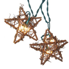 """This Kurt Adler 10-Light Rattan Natural Star Light Set is a beautiful, unique way to add to the lighting of your Christmas tree or holiday decoration. Each of the 10 lights on this indoor/outdoor light set has a natural-looking star design, perfect for bringing a warm, rustic feel to your home. Each light set has a 30"""" lead wire, 12"""" spacing, 4 spare bulbs, 1 spare fuse, and a replacement R42."""